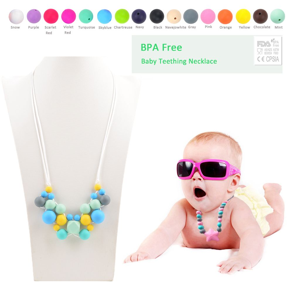 2016 New Fashion Creative Silicone Necklace For Mommy Food Grade Silicone Teething Necklace Chewable Baby Bead Colorful Necklace