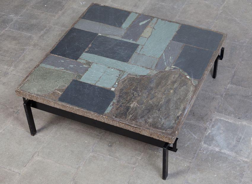 Table Basse En Ardoise Par Paul Kingma 1960s 3 Table Basse En Ardoise Table Basse Table Basse En Pierre