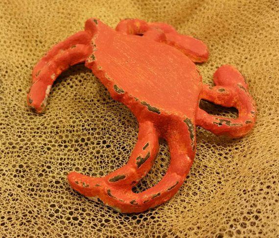 shabby cast iron orange crab garden decor by veneciaart