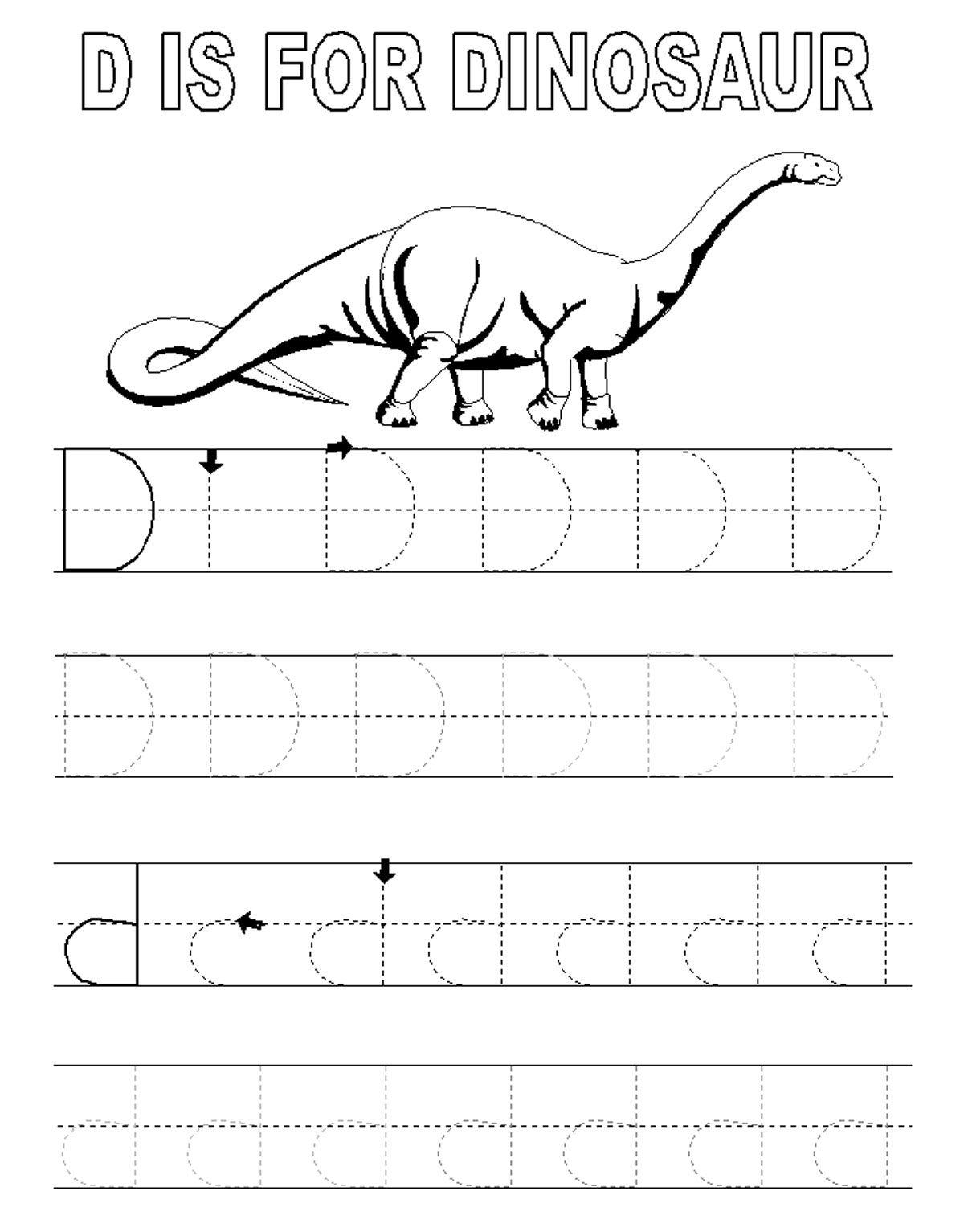 Alphabet Tracer Pages D Dinosaur