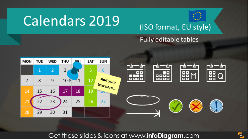 Calendars 2019 timelines graphics EU format (PPT tables