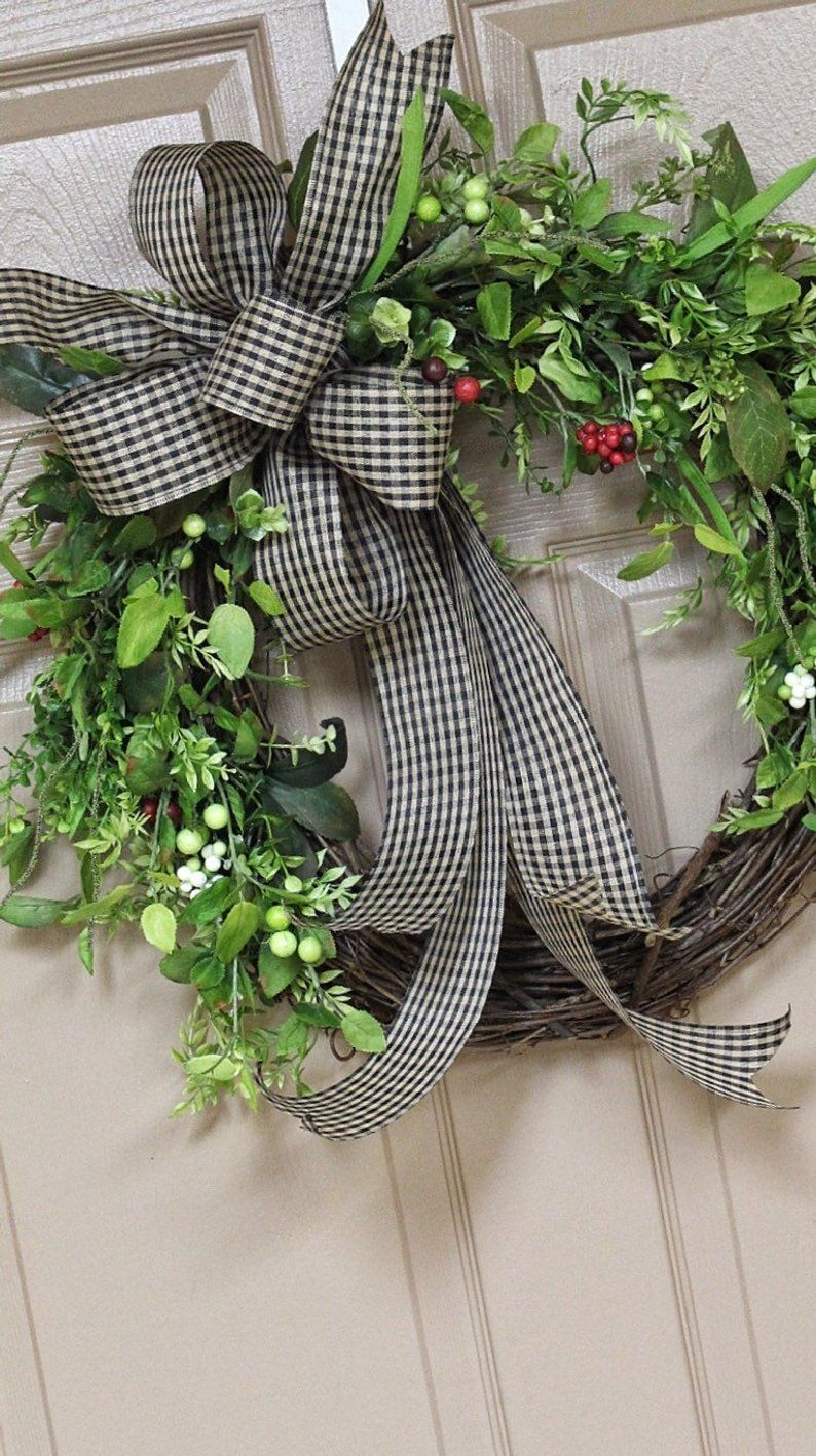 Photo of Front Door Wreaths, Everyday Wreath, For Year Round, Greenery Wreath, Plaid Bow, Rustic, Grapevine, Farmhouse, Simply, Country, Small
