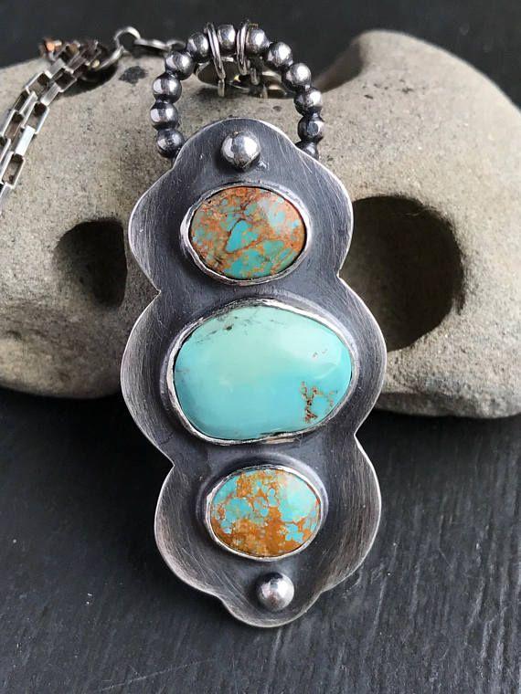 Turquoise Pendant on Chain Handmade 3 Stone Pendant with | Bezel ...