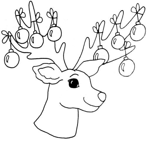 Christmas black and white reindeer. Free craft patterns painting