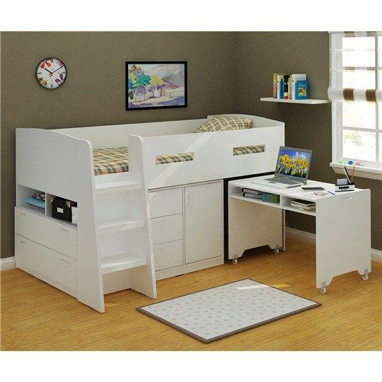 825 jupiter king single midi sleeper pure white bunk. Black Bedroom Furniture Sets. Home Design Ideas