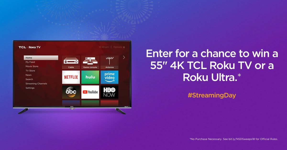 Enter for a chance to win a 55 tcl roku tv for