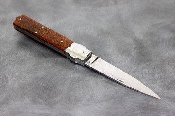 Couteau pliant Rétro os de mammouth silicifié acier damas inox