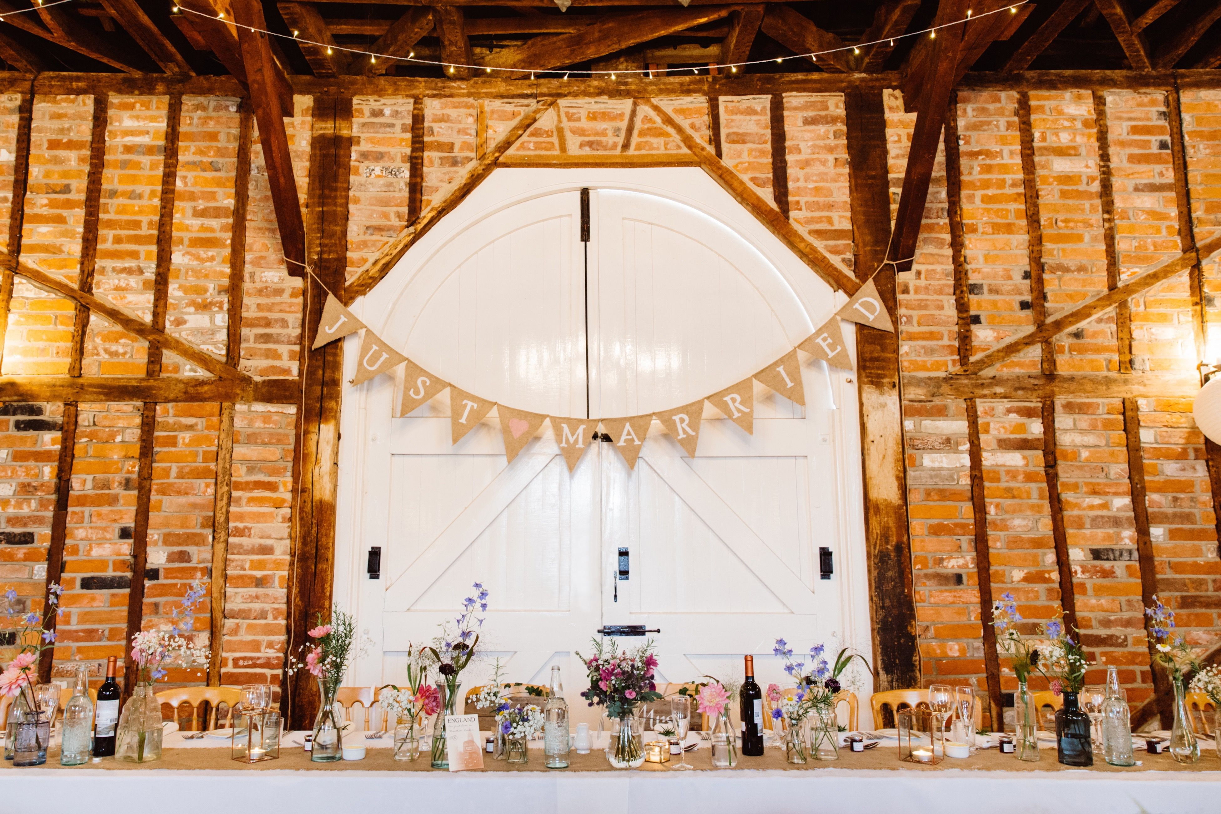 Just married wedding hessian bunting travel themed weddings just married wedding hessian bunting junglespirit Image collections