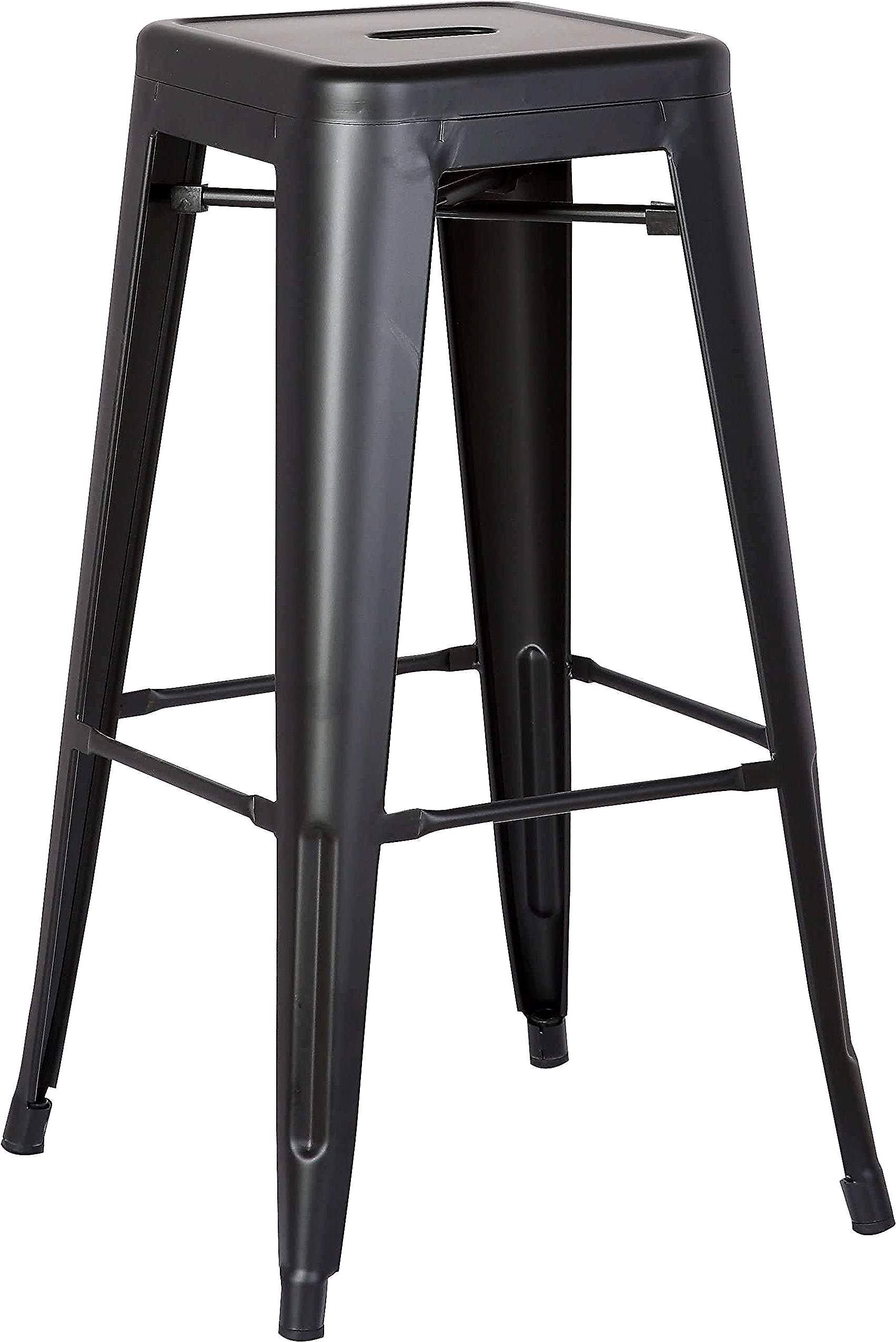 Ac Pacific Set Of 2 Backless Metal Barstool Matte Black 30 H In