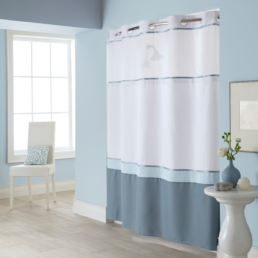 Hookless Windsor Colorblock Shower Curtain Liner Fabric Shower