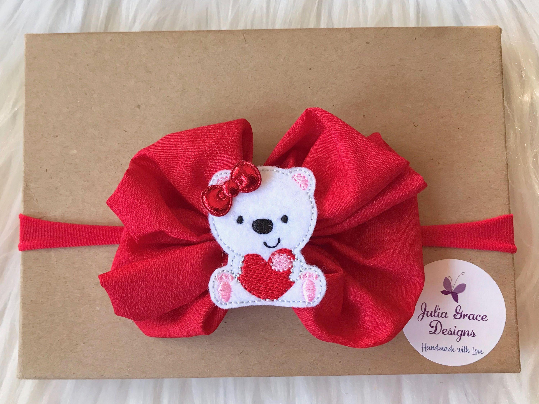 Valentineus day headband baby hairbow nylon headband baby