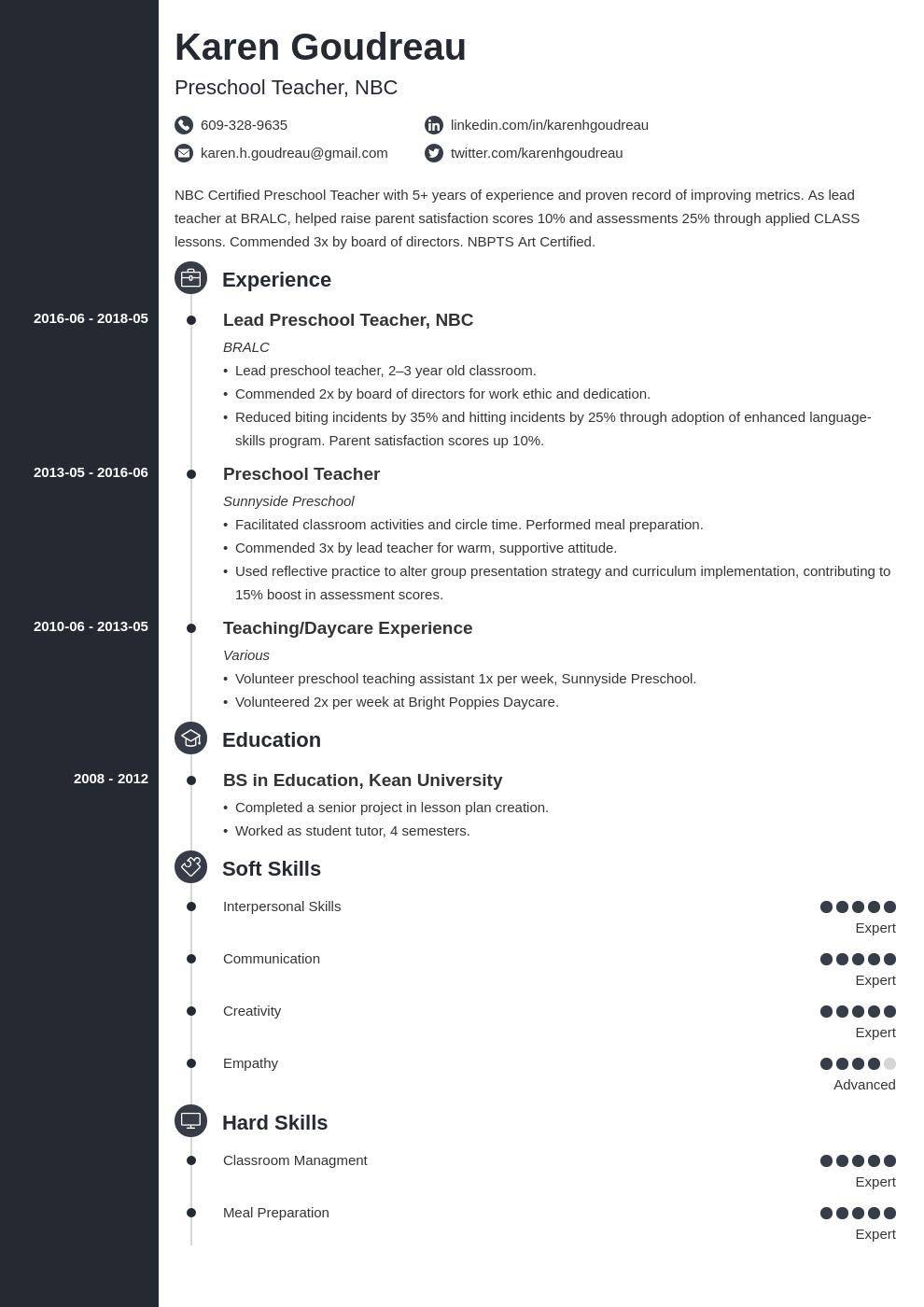 preschool teacher resume example template concept in 2020