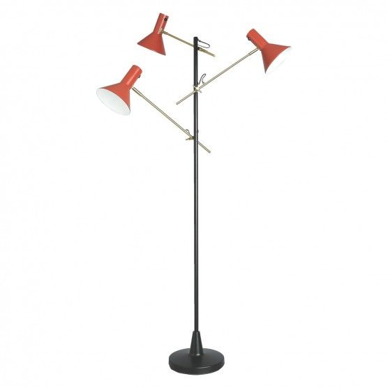 Nyx Black And Red 3 Head Metal Floor Lamp Red Floor Lamp Metal Floor Lamps Floor Lamp