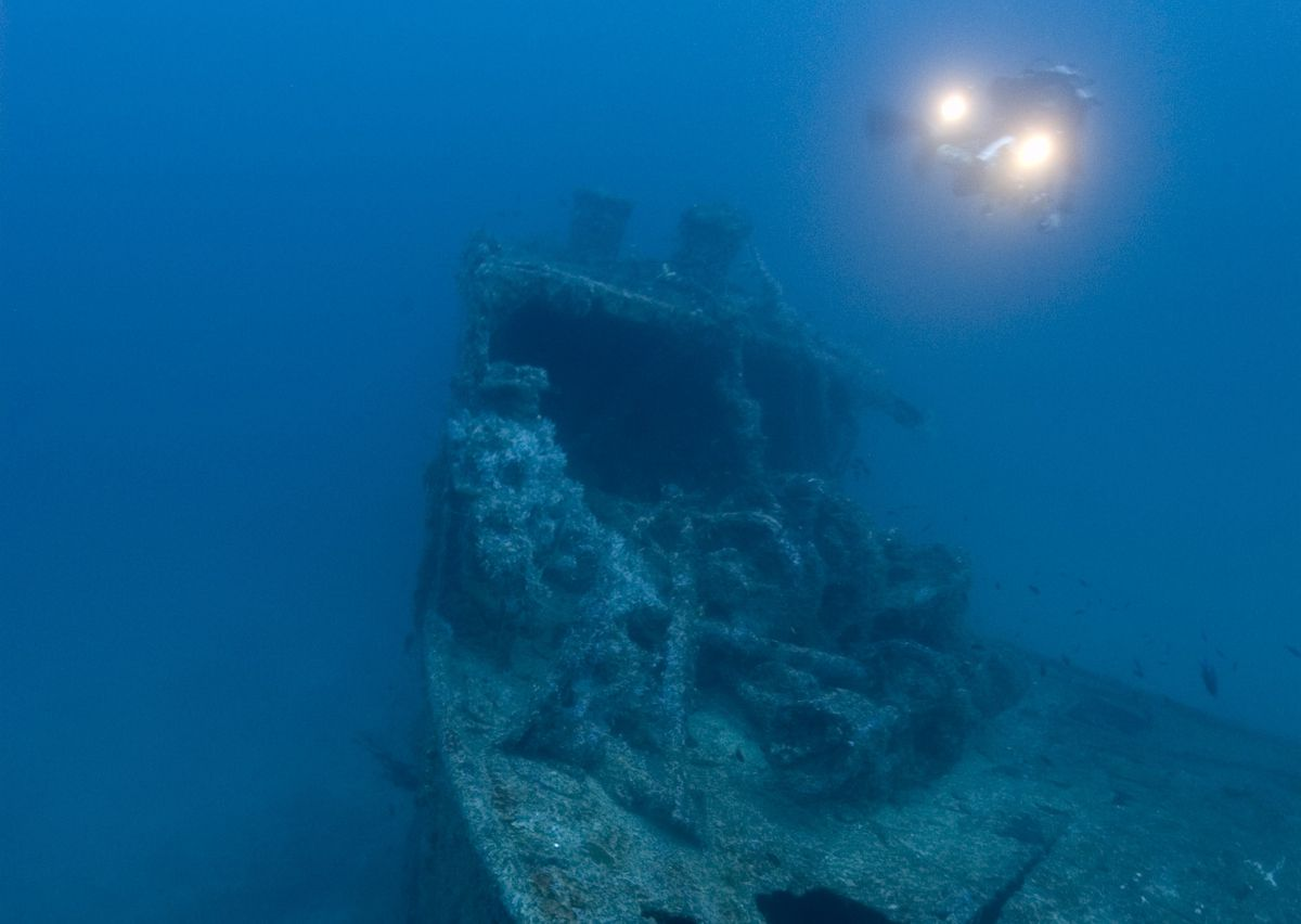 The Northern Light, a Great Lakes Freighter, sits in 190 feet of water off Key Largo, Florida, where it serves as a magnet for ocean life and experienced divers.