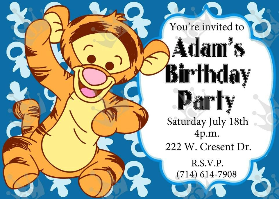 Baby Tiger Birthday Party Invitation, Print @ Home, DIY (In Blue) by ...