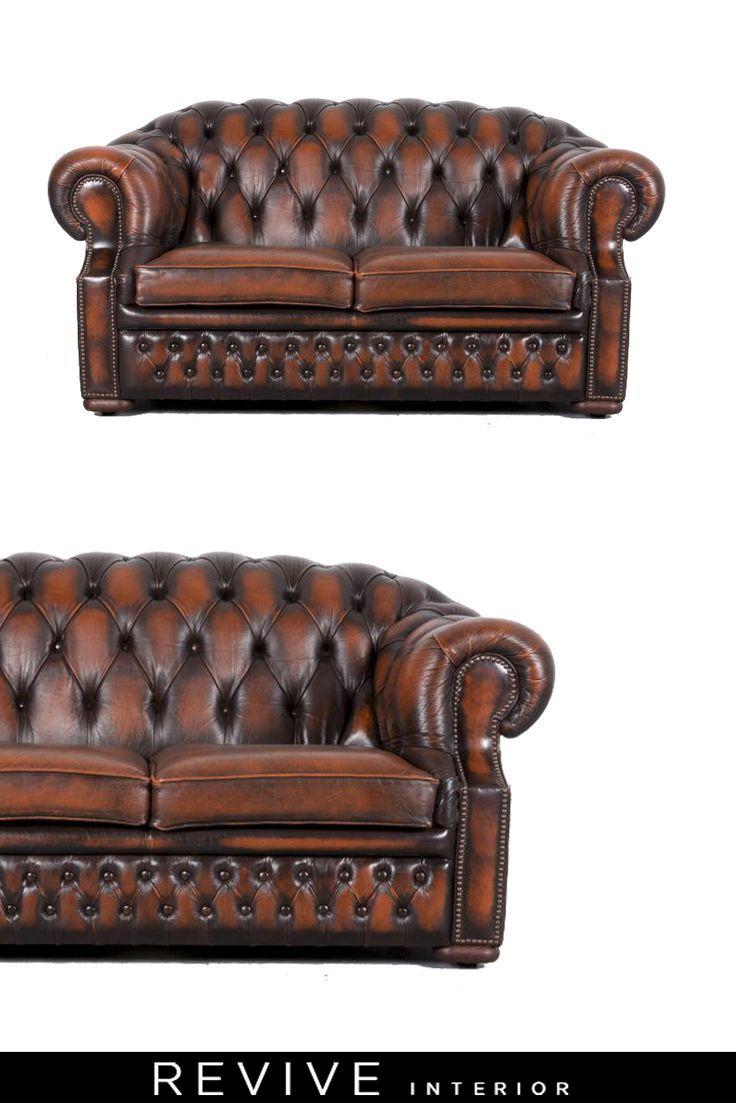 Chesterfield Leder Sofa Orange Braun Zweisitzer Couch ...