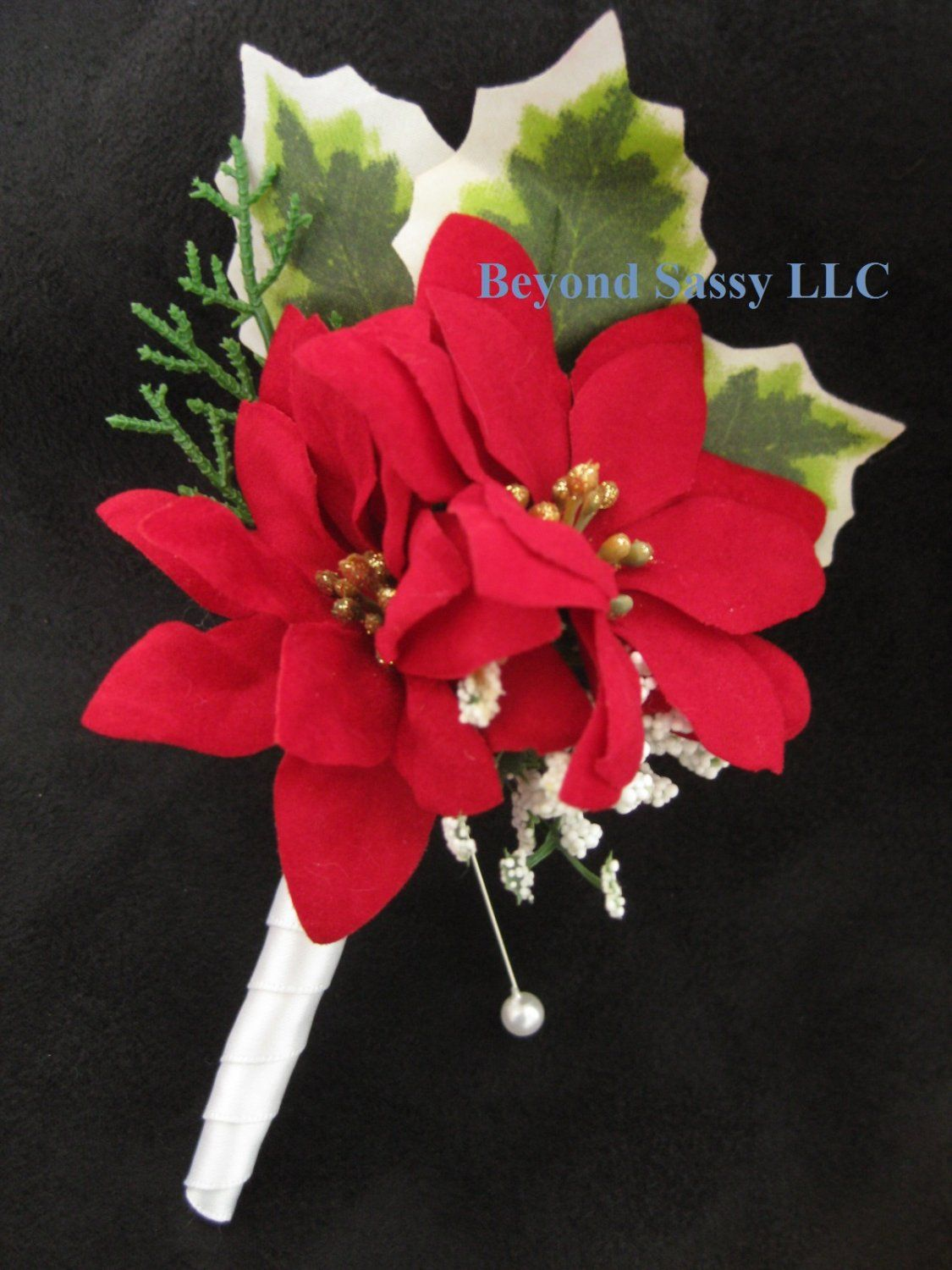 Red White Poinsettia Silk Flower Wedding Boutonniere In 2018 Prom