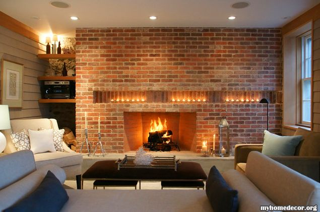 Off Set Brick Filled In With Built In Shelves, Candles On The