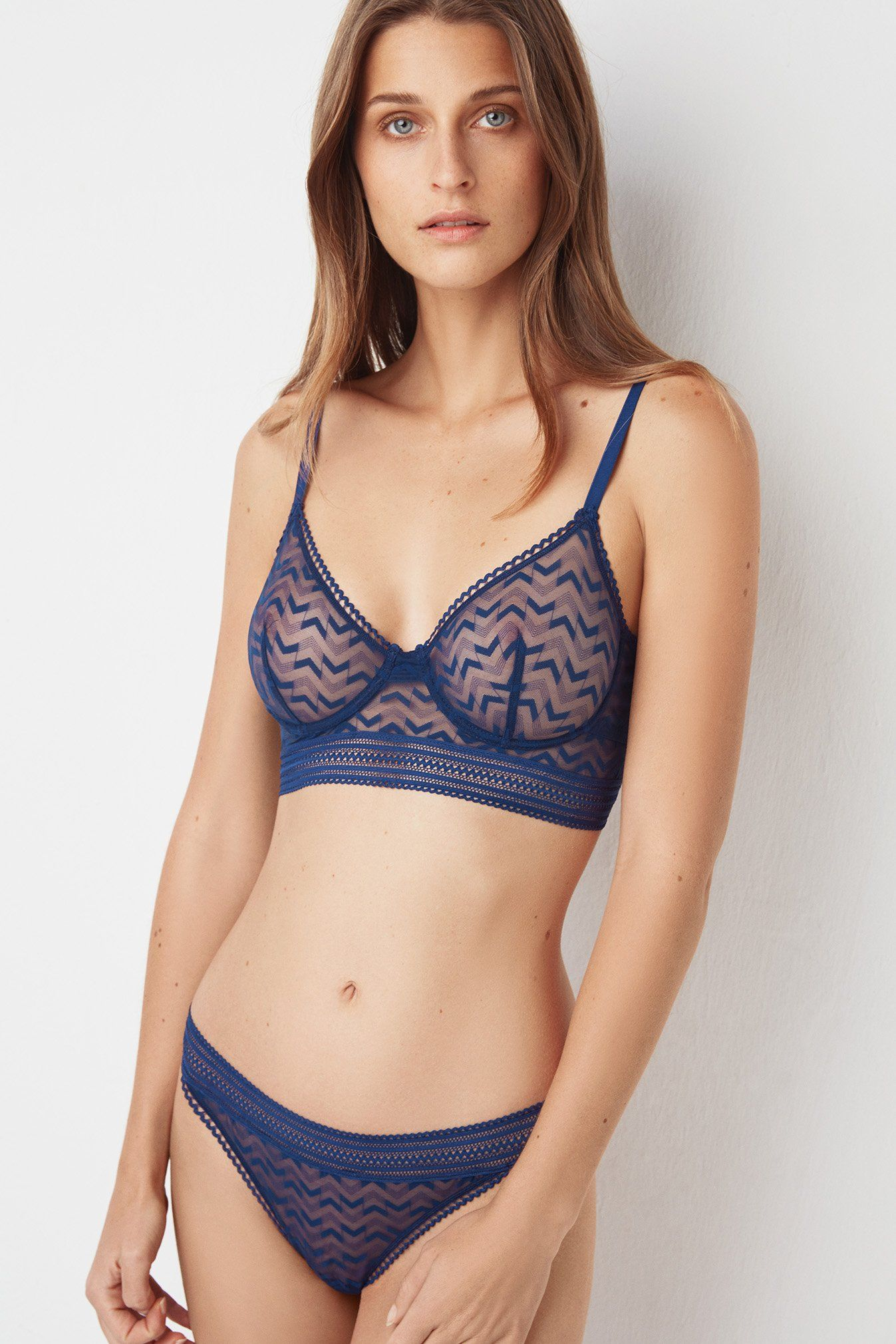 3a033facac6 Add new dimension to your fall lingerie look with the Boomerang longline  bra and matching panties by ELSE. #chevron #lingerie #bra #panties #ELSE