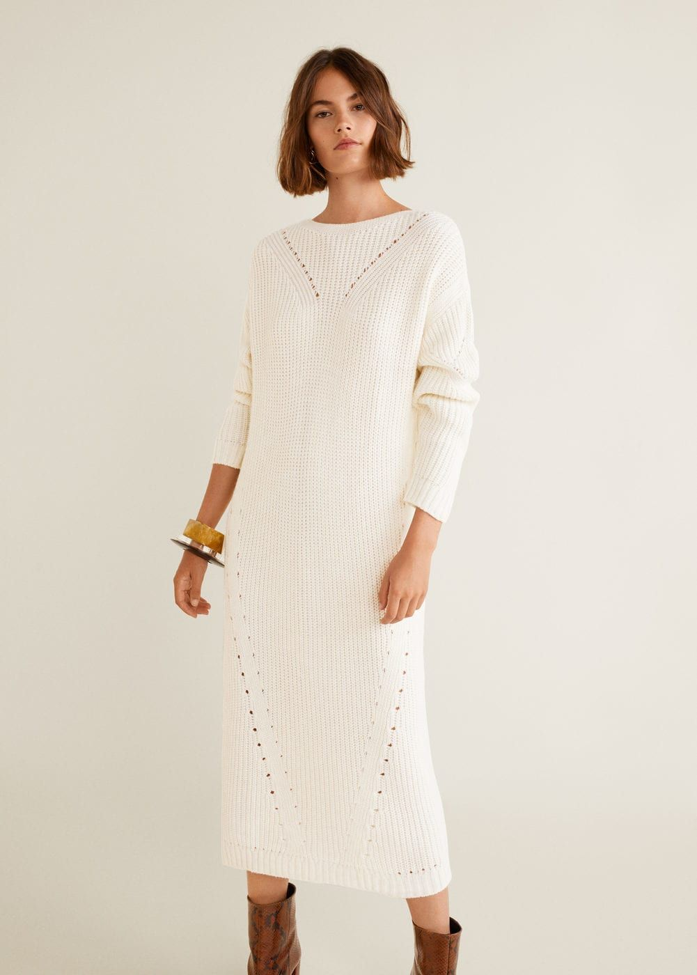Mango  Long knitted dress, Sweater dress, Women long dresses