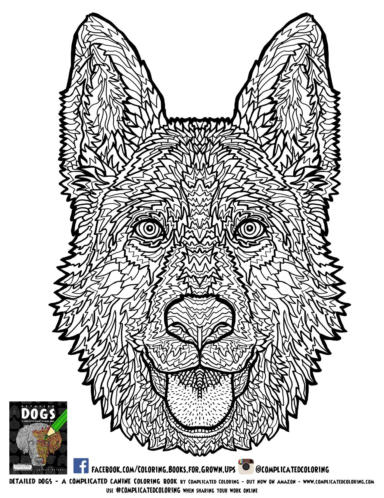 Complicated Coloring Intricate And Awesome Coloring Books Dog Coloring Book Dog Coloring Page Animal Coloring Pages
