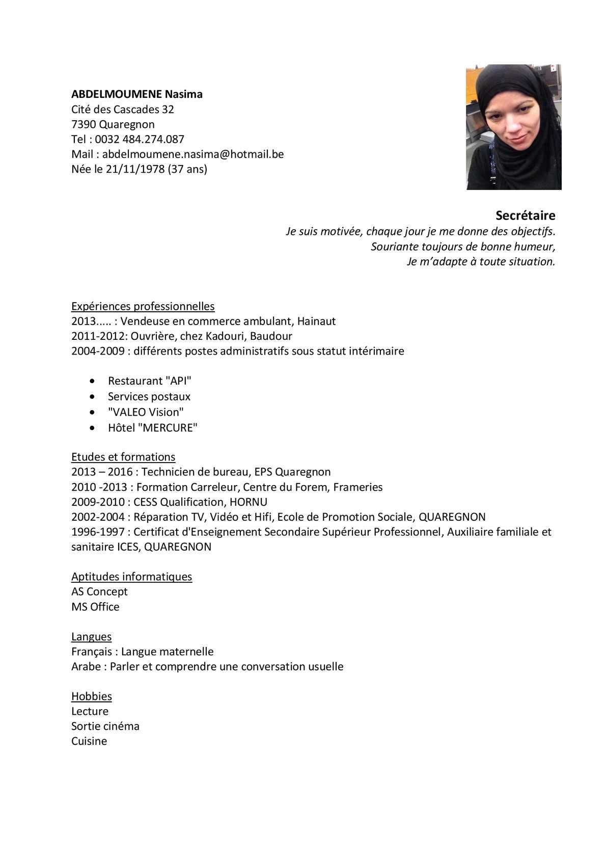 Cv Abdelmoumene Nasima 2015 Secretairedocx Commerce Ambulant Humeur Hainaut