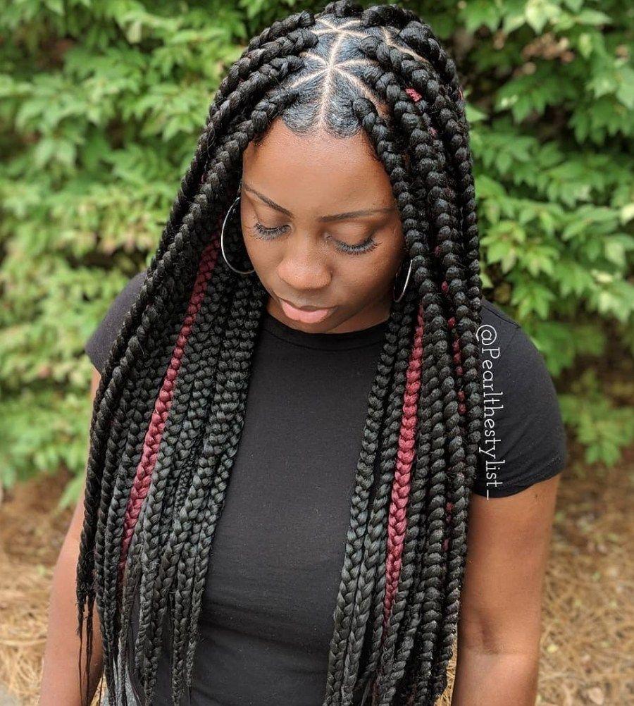 Triangle Box Braids With Curls