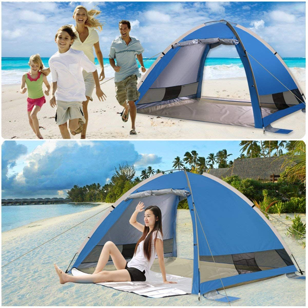 Beach Shelter Tent Pop Up Fishing Waterproof UV 50 Protection Camping Tents Lightweight Portable Sun Shelter for 3-4 People Outdoors Canopy for Backyard Fun or Picnics