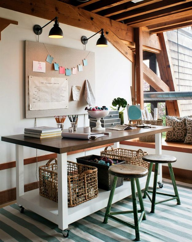 Love This Ceiling, And Movable Table. Utilize Your Under Desk Space.  Architecture Home Interior Design Office Craft Sewing Room Workspace Love  Windows