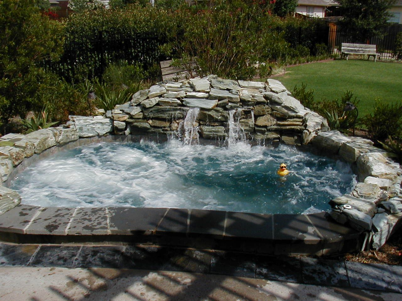 In ground hot tub. Plus. Waterfall | Stunning backyard spa\u0027s ...