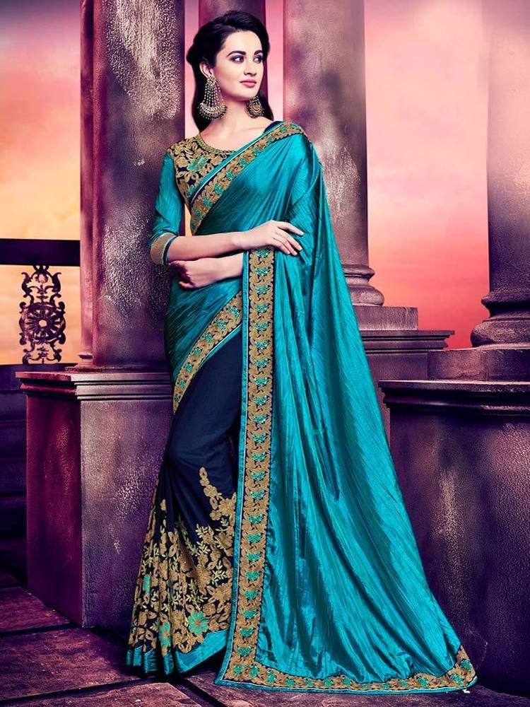 New Party Wear Sarees Fabric Georgette Designer Embroidered Fancy