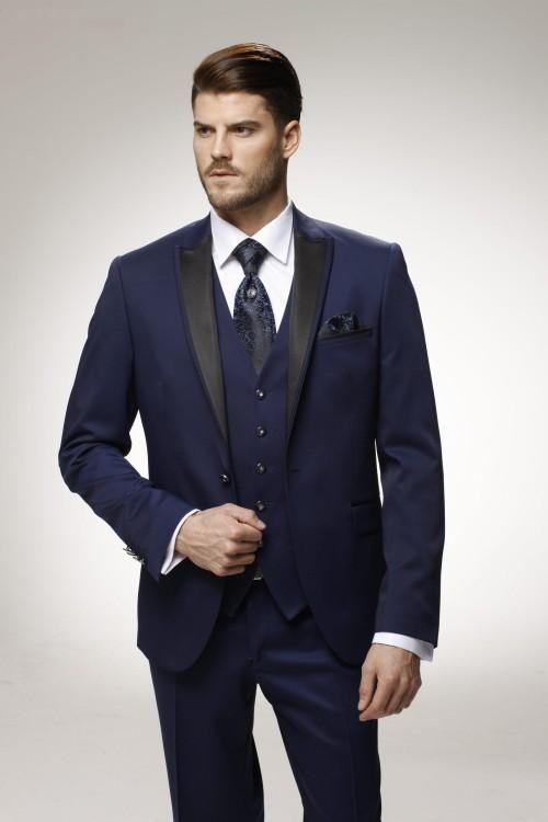 Custom Made Groom Tuxedo Navy Blue Groomsmen Peak Lapel Wedding ...