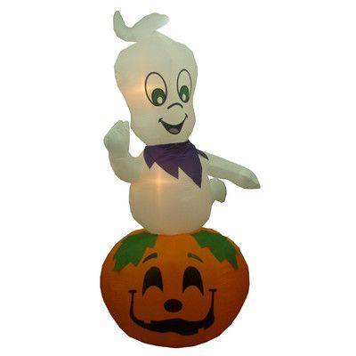 BZB Goods Animated Halloween Inflatable Ghost Casper on Pumpkin - outdoor ghosts halloween decorations
