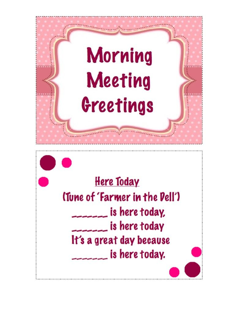 This Is A Collection Of Some Morning Meeting Greetings You Can Use