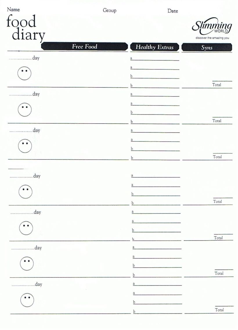 Slimming World Food Diary Template More  Calorie Diary Template