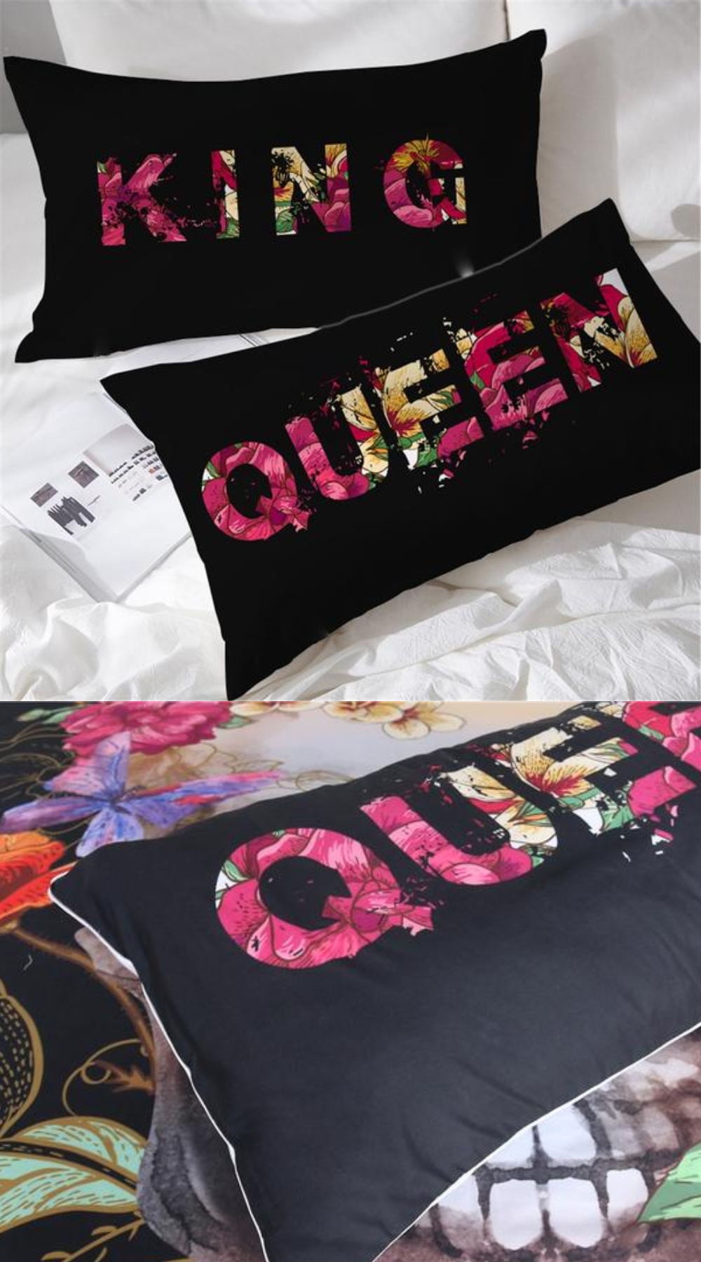 Set Of 2 His And Hers Romantic Retro Floral Queen And King Pillow Cases King Pillows Couple Pillowcase Cool Shower Curtains