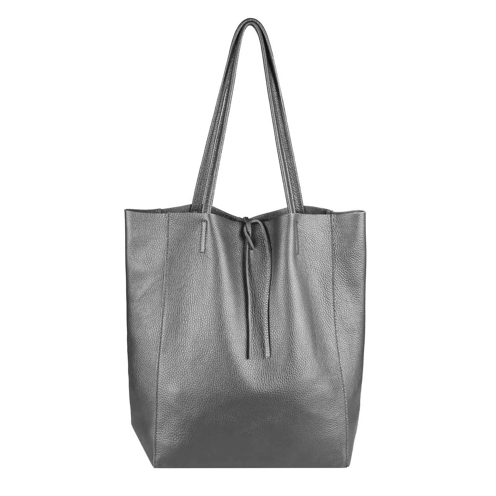 15d7f7970059c OBC Made in Italy DAMEN LEDER TASCHE DIN-A4 Shopper Schultertasche  Henkeltasche Tote Bag Metallic Handtasche Umhängetasche Beuteltasche…
