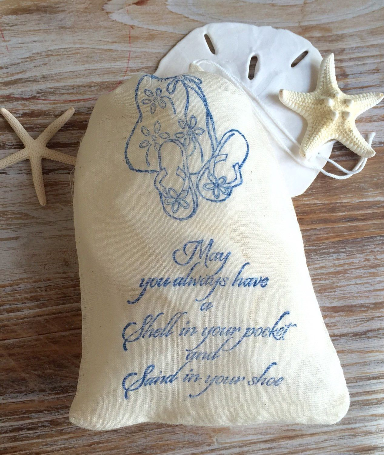 Beach wedding decoration ideas diy   beach themed cotton favor bags beach wedding favors beach quote