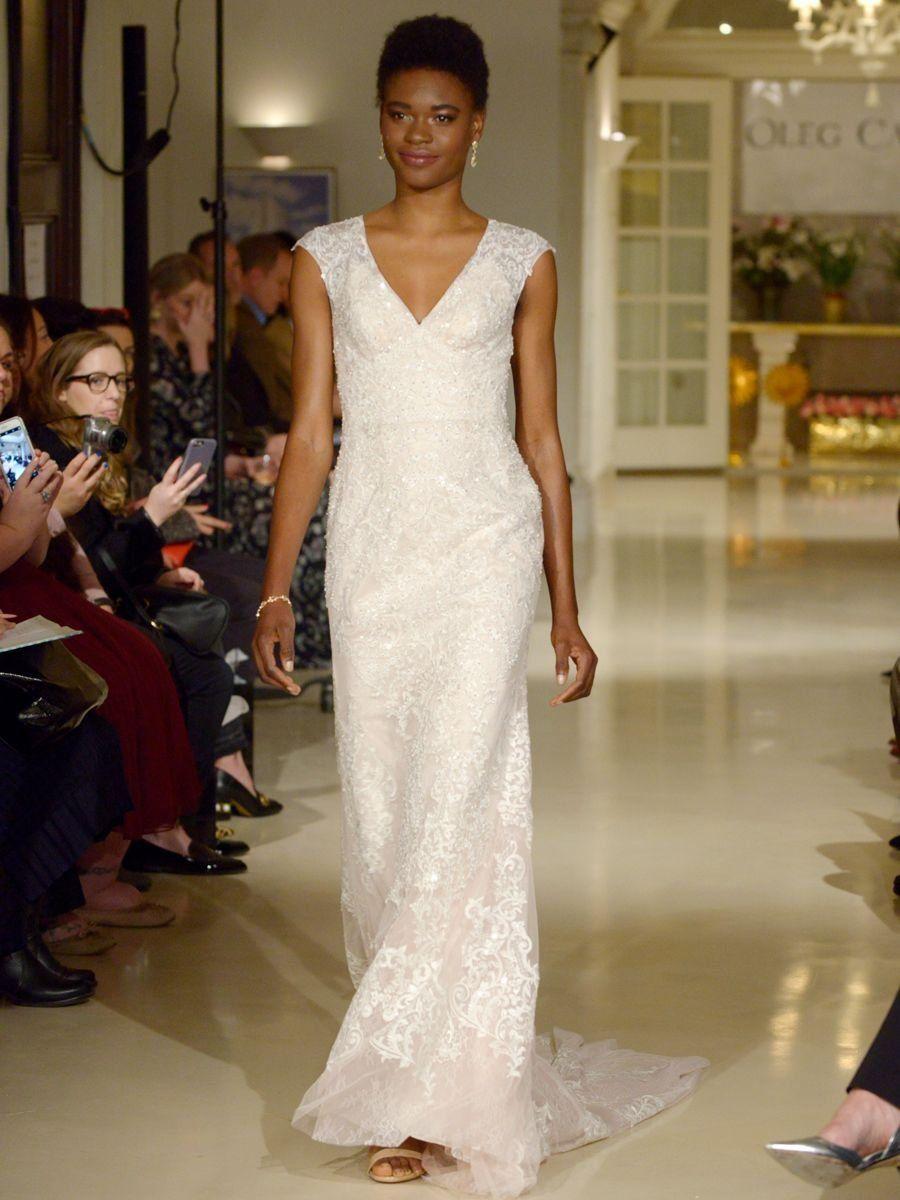 7ca344c3e0a Oleg Cassini Spring 2019 wedding dress with a V-neckline