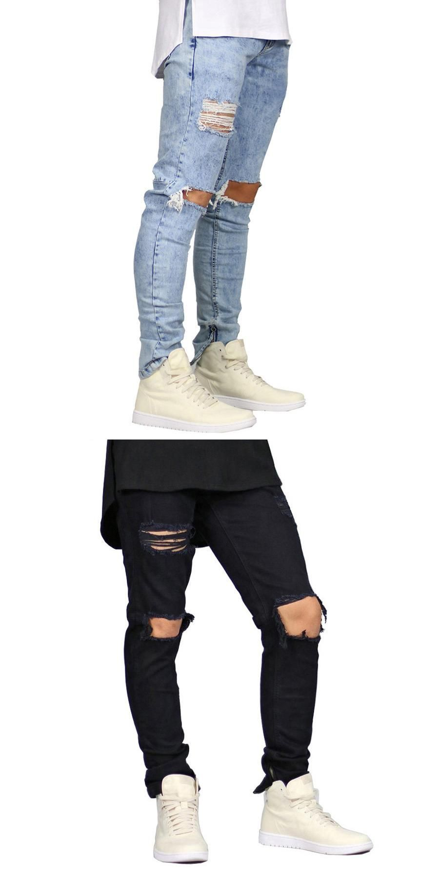 New Men Stretch Skinny Jeans Side Zipper Hip Hop Urban Destroyed Distressed  Side Zipper Pencil Jeans 1a3e66aa5c2f