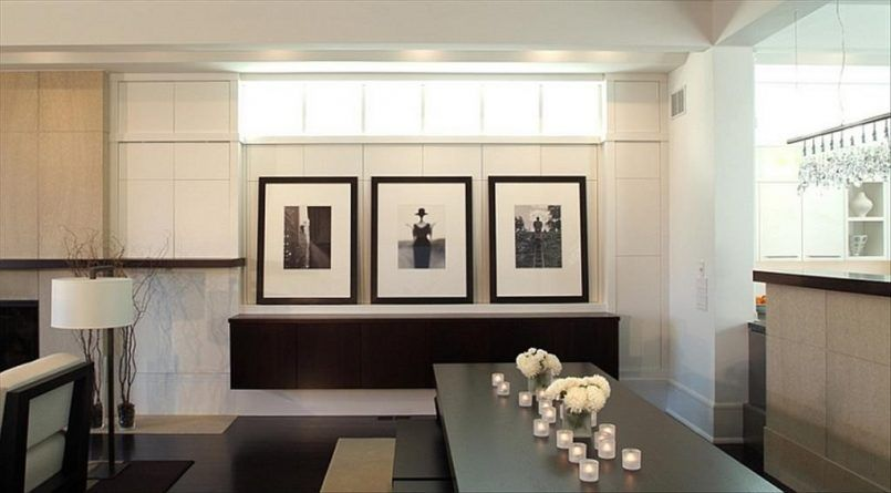 Dining Room Black Set Candle Flower Vase White Roses Potrait Stand Light Buffet Table Kitchen