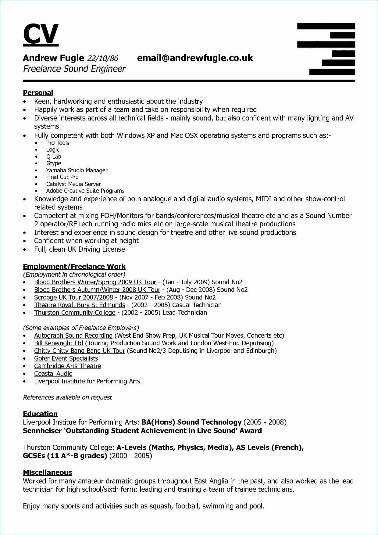 Live Sound Engineer Resume Fresh New Engineering Graduate Resume In 2020 Resume References Engineering Resume Resume Examples