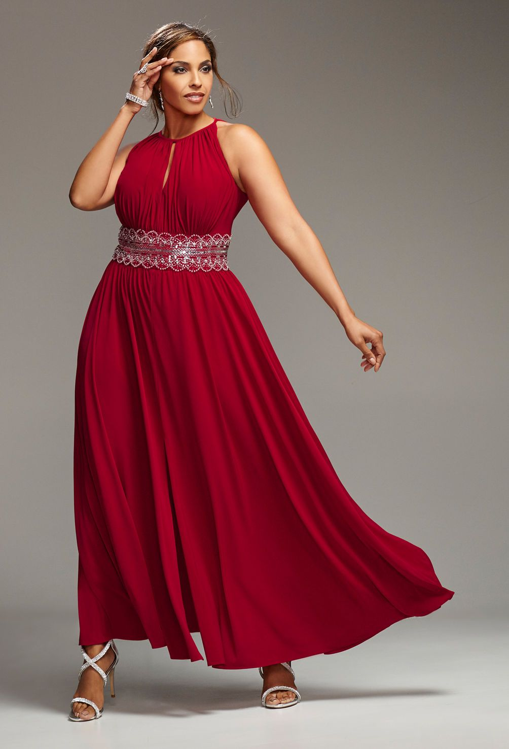 Red sequin halter gownplus size special occasion dressavenue