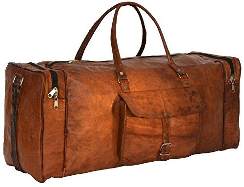 Genuine Leather Holdall Duffle Gym Weekender Luggage Travel Shoulder Vintage Bag Unisex Brown