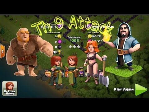 townhall 9 attacks 2016 clash of clans coc valkyrie attacks
