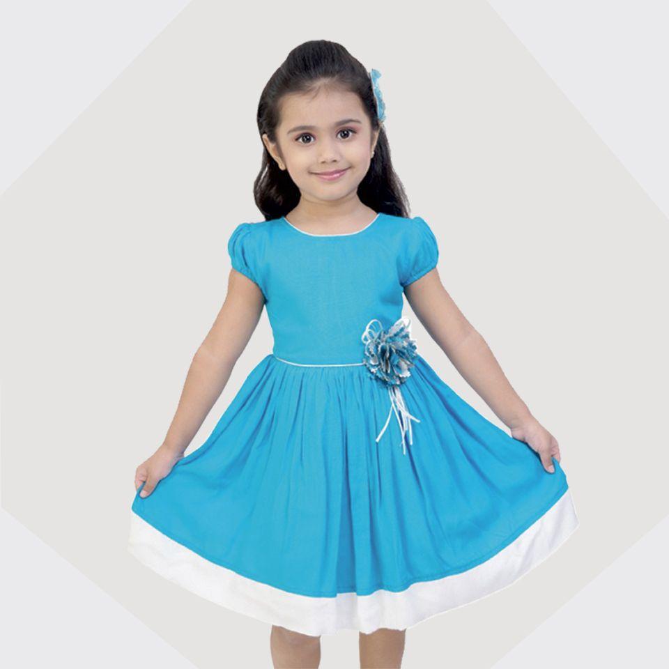 127ff9e1144c SKY BLUE CASUAL DRESS FOR GIRLS  dress  kids  kidstore  dresses   casualdress  grahakji  frocks