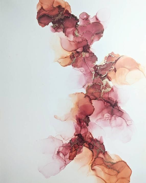 Original alcohol ink fluid art contemporary minimalist abstract painting - pink, red, peach, warm, spring, summer, orange, white, gold