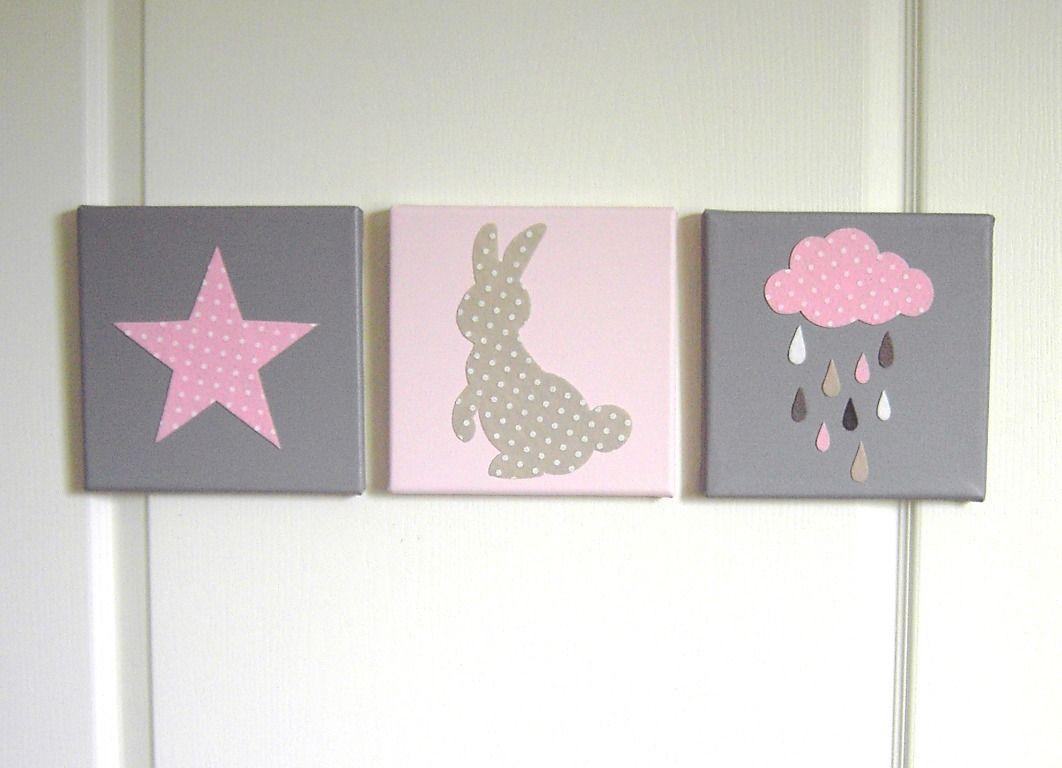 d coration murale pour chambre d 39 enfant tableau triptyque pour chambre de b b lapin toile. Black Bedroom Furniture Sets. Home Design Ideas