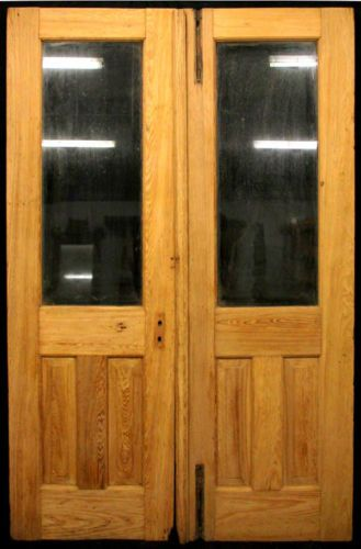 52x83 Pair Antique Stripped Cypress Exterior Double Entry Doors Lite