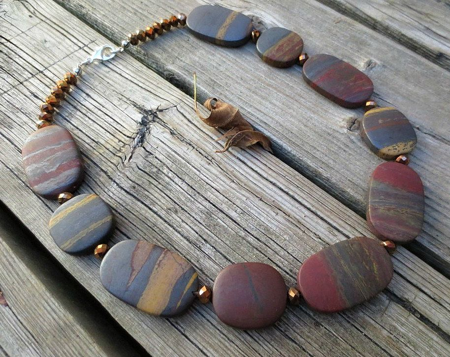 Tiger Iron Matte Flat Free Form Oval, Chinese Crystal Necklace by ReTeTeer on Etsy